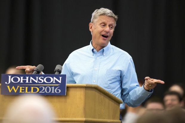 In this Sept. 3, 2016, photo, Libertarian presidential candidate Gary Johnson speaks during a campaign rally in Des Moines, Iowa. (AP Photo/Scott Morgan)