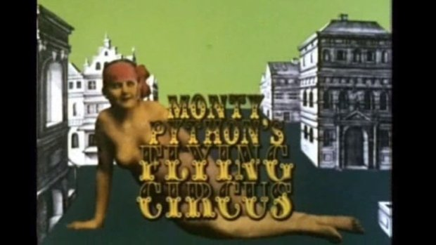 "A still photo from the intro of Monty Python's Flying Circus debut episode, ""Whither Canada?"""
