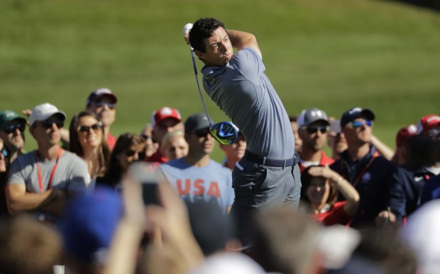 Europe's Rory McIlroy hits a drive on the third hole during a singles match at the Ryder Cup golf tournament Sunday, Oct. 2, 2016, at Hazeltine National Golf Club in Chaska, Minn. (AP Photo/Charlie Riedel)
