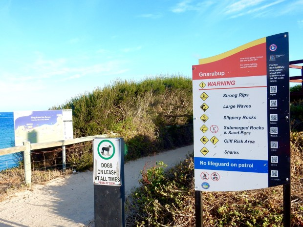 """Fellow travelers — or: The sign on the road to the cemetery said 'Dead End' ... AQUA AFICIONADO reports: """"Other than that, this Western Australia beach is the PERFECT place to swim! Being the Aqua Aficionado, of course, I did."""""""
