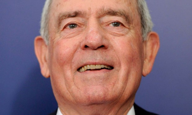 "Anchorman Dan Rather is 85. Here is one of his many colorful ""Ratherisms"": ""This race is tight like a too-small bathing suit on a too-long ride home from the beach."" (AP Photo/Evan Agostini)"