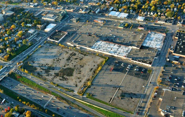 """The proposed site of a soccer stadium for Minnesota United FC is seen from the air on Tuesday, Oct. 18, 2016. The $150 million stadium project, on the Midway neighborhood """"Bus Barn"""" site, is bounded by Snelling Ave. on the left and I-94 in the foreground. (Pioneer Press: John Autey)"""