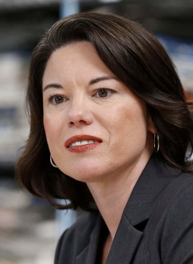 This Aug. 24, 2016 photo shows Minnesota' s 2nd Congressional District candidate Angie Craig in Minneapolis. Craig, a Democrat and former medical technology executive, Will face Republican Jason Lewis for the U.S. House seat. (AP Photo/Jim Mone)