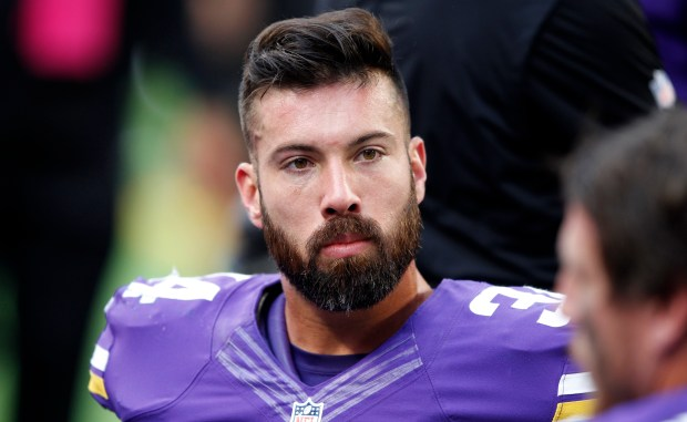 Minnesota Vikings strong safety Andrew Sendejo sits on the bench during the second half of an NFL football game against the Houston Texans Sunday, Oct. 9, 2016, in Minneapolis. The Vikings won 31-13. (AP Photo/Andy Clayton-King)