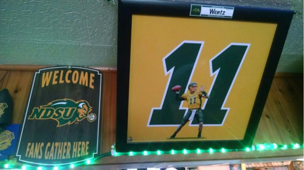 Carson Wentz memorabilia decorates the Knickerbocker Liquor Locker in Hickson, N.D. (Courtesy of Mike Brice)