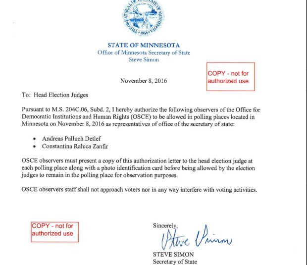 Authorization for OSCE to observe Minnesota's Election Day activity.