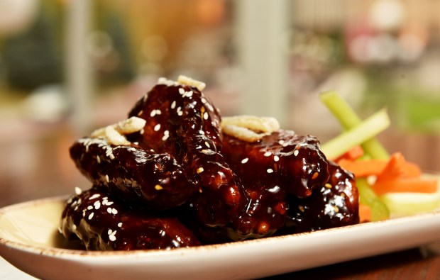 A plate of black vinegar chicken wings at Herbie's on the Park in St. Paul on Tuesday, Oct. 25, 2016. (Pioneer Press: John Autey)