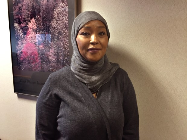Asma Jama is photographed at the Anoka County attorney's office on Oct. 17, 2016. Jama was at an Applebee's restaurant in Coon Rapids last year when a woman attacked her for speaking Swahili. (Courtesy photo)