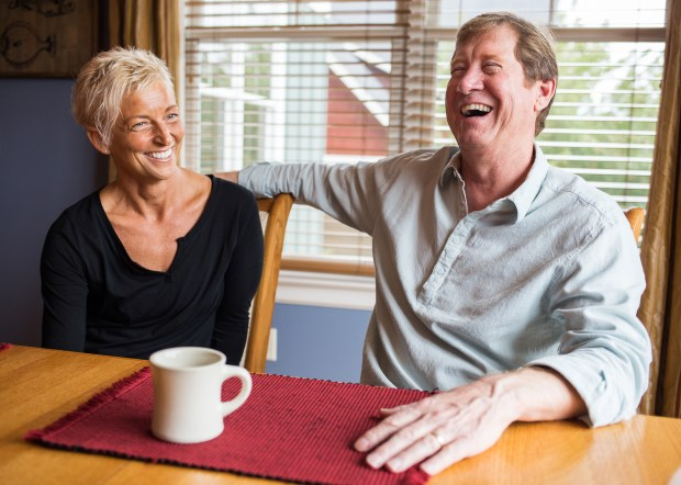 Jason Lewis and his wife, Leigh, sit down for an interview with the Pioneer Press at their home in Woodbury, Minn. on Saturday, Sept. 24, 2016. (Pioneer Press: Liam James Doyle)