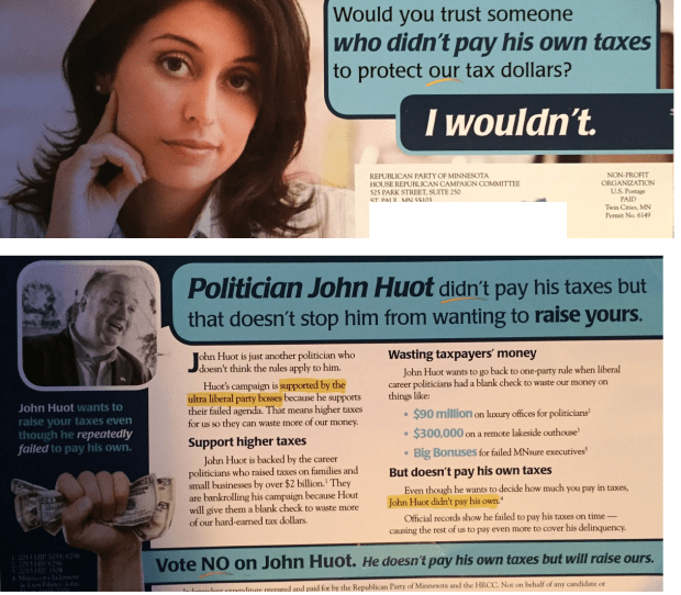 Republican mailer against John Huot, in House District 57B