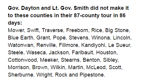 Gov. Mark Dayton and Lt. Gov. Smith failed to make it across the state in their statewide tour.