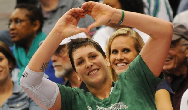 Former Minnesota Lynx center Janel McCarville is 35. The Wisconsin native and University of Minnesota standout played in the WNBA for eight years before her 2013 trade to Minnesota. She's shown making a heart sign to someone in the crowd in the fourth quarter of a 2013 WNBA Championship at Target Center in October 2013. (Pioneer Press: John Autey)