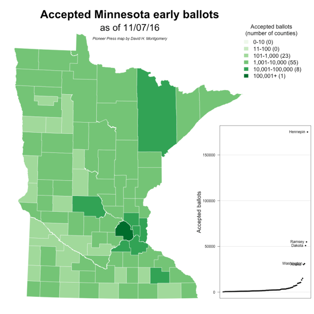568,196 ballots accepted in Minnesota (Pioneer Press map from Secretary of State data)