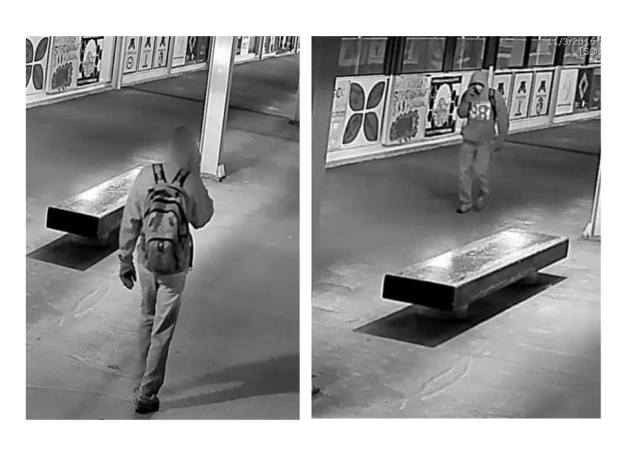 University of Minnesota Police are trying to identify this person of interest in the Nov. 3, 2016 vandalism of a Muslim Students Association panel on the Washington Avenue Bridge. (courtesy photo)