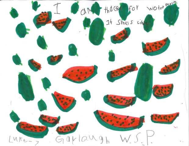 """I am thankful for watermelon. It smells kind of."" — Luke C., West St. Paul, Garlough Elementary"