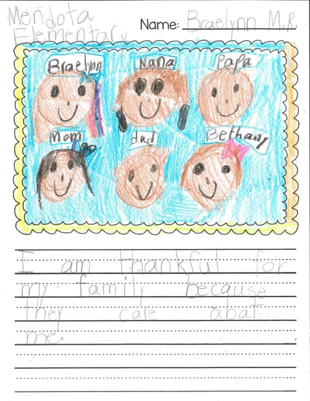 """""""I am thankful for my family because they care about me."""" — Braelynn M.R., Mendota Heights, Mendota Elementary"""