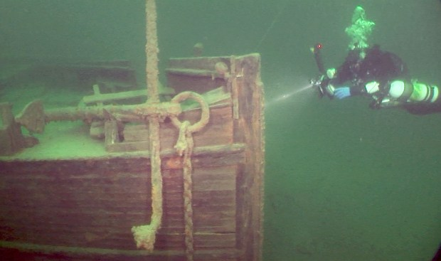 A diver looks at the ship that sank in 1884 on Lake Superior near Michipicoten Harbor, Ontario. The wreck was discovered in July 2016. (Photo by Nick Lintgen via Forum News Service)