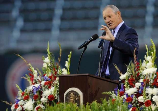 Former pitcher Jim Kaat speaks at the memorial service for Hall of Famer Harmon Killebrew on May 26, 2011, at Target Field in Minneapolis. (Hannah Foslien/Getty Images)