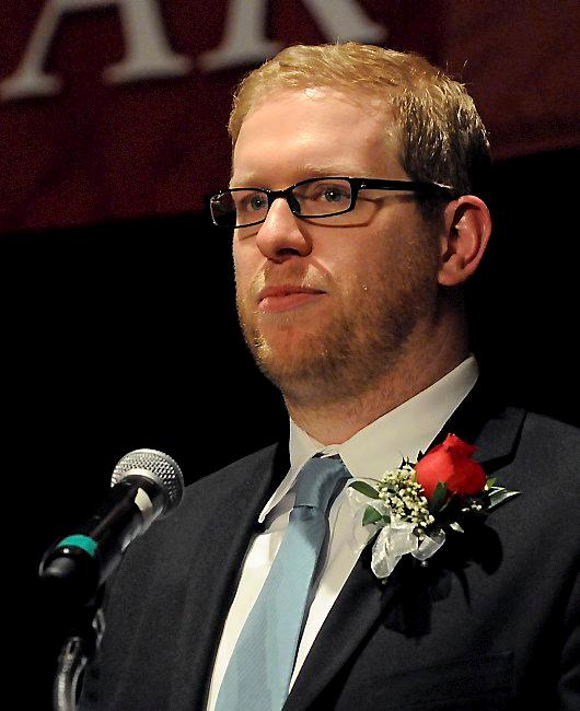 In this photo provided by Education Minnesota, Thomas Rademacher is named 2014 Minnesota Teacher of the Year in Bloomington, Minn., Sunday, May 4, 2014. Rademacher teaches English at FAIR School in the West Metro Education Program. (AP Photo/Education Minnesota, Janet Hostetter)