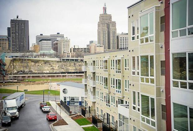 A view looking across the river at St. Paul from the new West Side Flats building, a 178-unit riverfront apartment complex at 84 Wabasha St. South on Thursday, May 1, 2014. The $35 million project includes a mix of 142 market-rate and 36 affordable units, as well as 6,185 square feet of commercial space at Fillmore Avenue and Wabasha Street. (Pioneer Press: Ben Garvin)