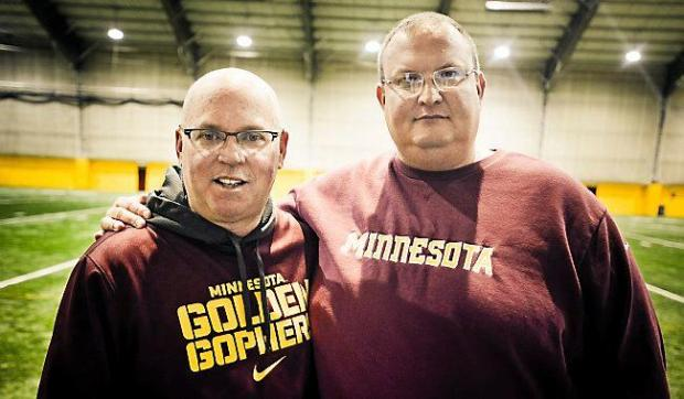 Gophers football head coach Jerry Kill, left, and defensive coordinator Tracy Claeys pose for a photo after practice in Minneapolis on Wednesday, December 18, 2013.(Pioneer Press: Ben Garvin)