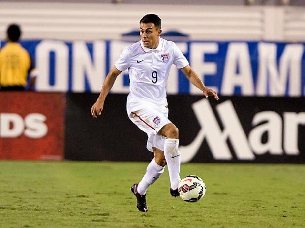 Minnesota United FC midfielder Miguel Ibarra earned his first appearance with the U.S. national team in its friendly match with Honduras on Oct. 14, 2014, in Boca Raton, Fla. The USMNT tied Honduras 1-1 during an international friendly at FAU Stadium. Photo courtesy of U.S. Soccer.