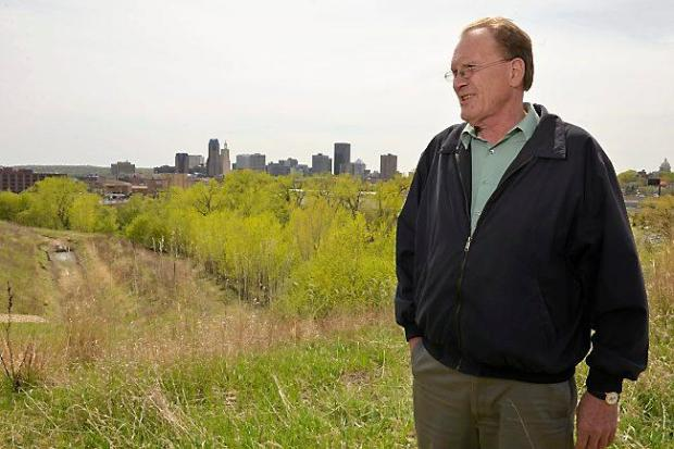 Jim Erchul, head of Dayton's Bluff Neighborhood Housing Services, stands on the site of Rivoli Bluff in 2015. (Scott Takushi / Pioneer Press)