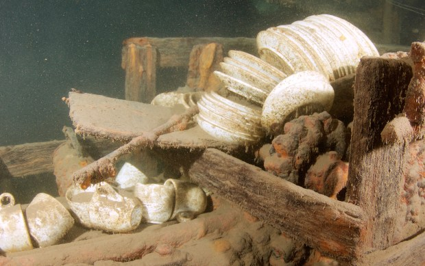 WRECK1103c4 -- Stacks of dishes can be seen in the wreck of the J.S. Seaverns in Lake Superior. The 130-foot package steamer sank in 1884. (Photo by Nick Lintgen)