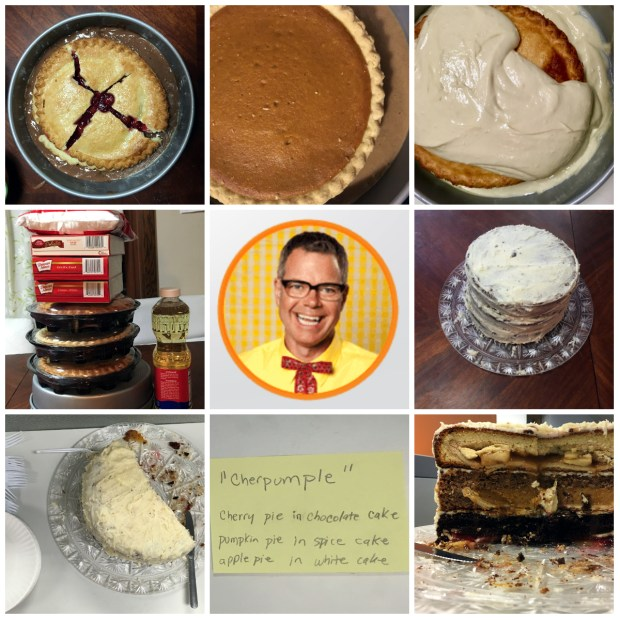 It took me two days to shop for, bake and assemble the Cherpumple, a multi-layer dessert invented by Charles Phoenix (center). collage created by Molly Guthrey. Photo of Charles Phoenix from http://www.charlesphoenix.com/.
