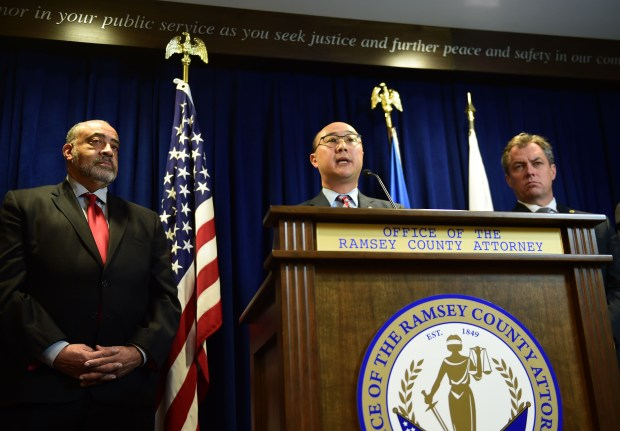 Ramsey County Attorney John Choi announces that he filed manslaughter charges Wednesday, Nov. 16, 2016, against St. Anthony police Officer Jeronimo Yanez in the fatal shooting of Philando Castile on July 6, 2016, in Falcon Heights. (Pioneer Press: Scott Takushi)