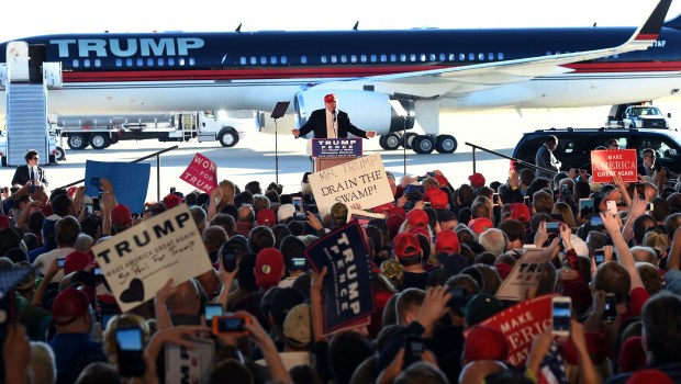 A crowd of 9,000 people attended presidential candidate Donald Trump's rally inside a Sun Country hangar at Minneapolis-St. Paul International Airport on Nov. 6, 2016. (Scott Takushi / Pioneer Press)