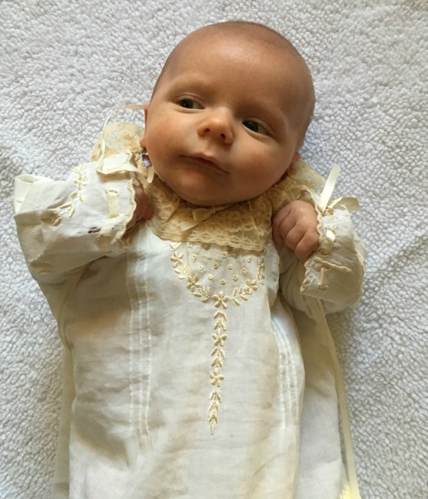 Jack Kalkman, photographed at home in Mendota Heights on Nov. 8, 2016, will be the 75th baby to wear his family's christening gown, made from the wedding dress his great, great grandmother wore 101 years ago. photo: Molly Guthrey
