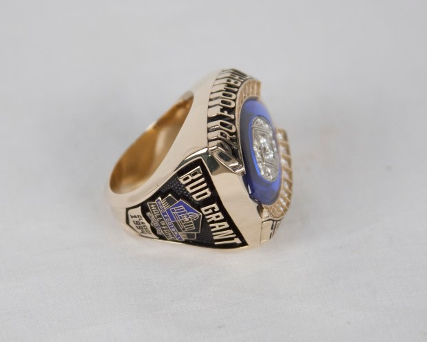 The Hall of Fame Ring of Excellence of former Minnesota Vikings coach Bud Grant. (Courtesy Pro Football Hall of Fame)