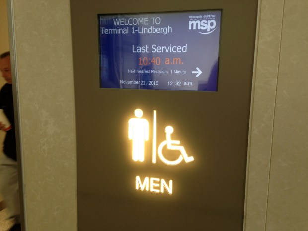 A design feature being incorporated in the new bathrooms at the Twin Cities International Airport tells users the last time they were cleaned. (Richard Chin)