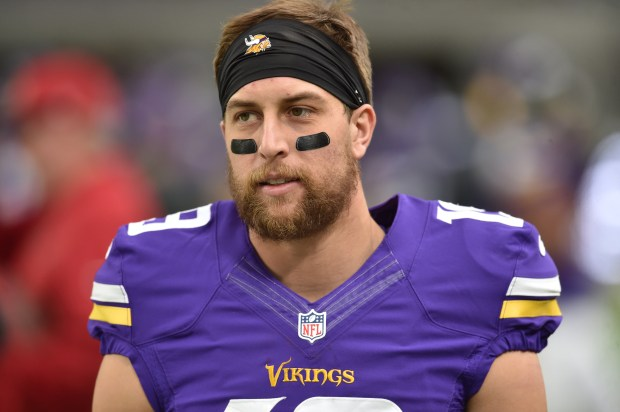 Minnesota Vikings wide receiver Adam Thielen before the start of the Vikings game against the Arizona Cardinals at U.S. Bank Stadium on Sunday, Nov. 20, 2016. (Pioneer Press: John Autey)