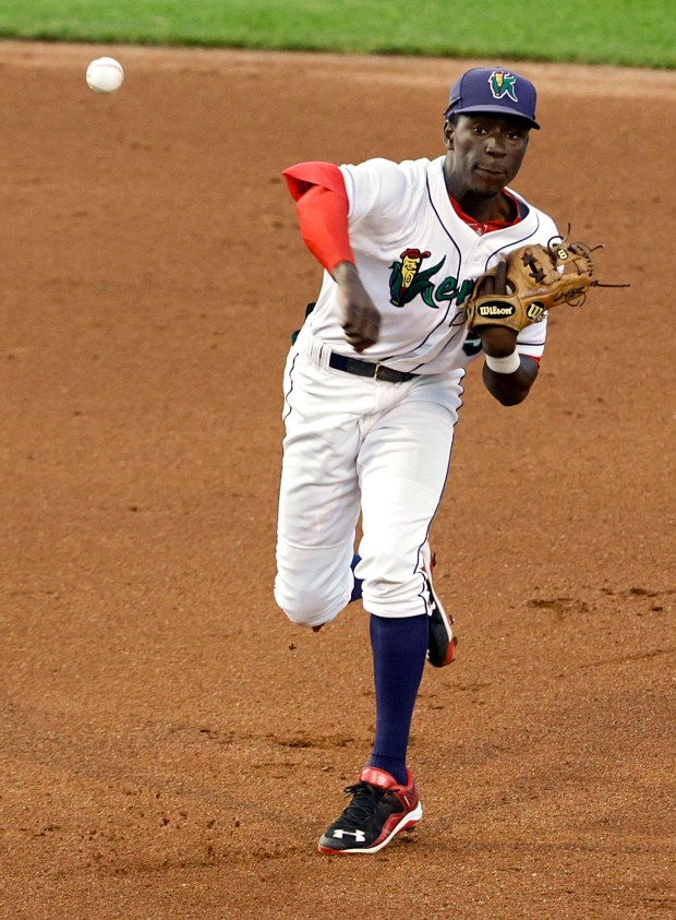 Cedar Rapids Kernels shortstop Nick Gordon (5) throws to first for an out during the fourth inning of their game at Veterans Memorial Stadium in Cedar Rapids on Monday, August 24, 2015. (Cedar Rapids Gazette: Stephen Mally)