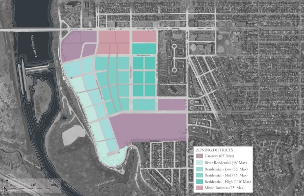 "A draft plan released by the city on Nov. 14, 2016 for the former Ford Motor Co. campus in Highland Park calls for the 135 acres to be split into six zoning districts, with 2-story buildings nearest the Mississippi River to the west, growing to as high as 10 stories as they ""step up"" to the east. Ford, which still owns the land, has demolished its manufacturing buildings and will seek a master developer in 2017-2018. (Images courtesy of city of St. Paul and Goff Public)"