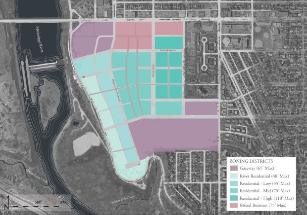 "A draft plan released by the city of St. Paul on Nov. 14, 2016, for the former Ford Motor Co. campus in Highland Park calls for the 135 acres to be split into six zoning districts, with 2-story buildings nearest the Mississippi River to the west, growing to as high as 10 stories as they ""step up"" to the east. Ford, which still owns the land, has demolished its manufacturing buildings and will seek a master developer in 2017-2018. (Courtesy of city of St. Paul and Goff Public)"