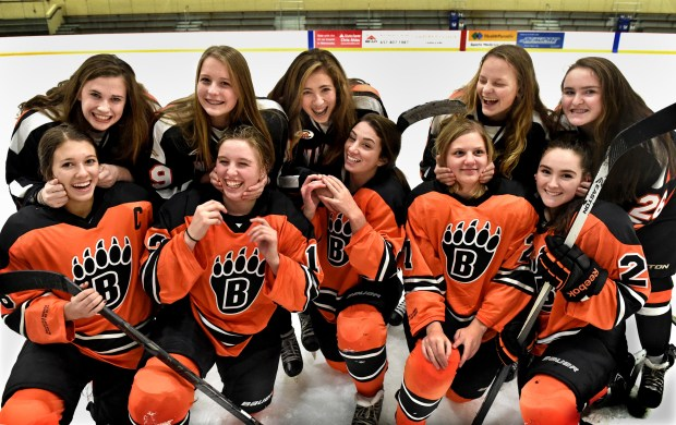 White Bear Lake's five sets of sisters pair up with each other in between varsity and junior varsity practice at Vadnais Heights Sports Center on Wednesday, Nov. 16, 2016. Bottom row from left: Claudia Verkerke, Kailee Snyder, Katie Ertle, Rebecca Sanda, and Bella Koller. Top row from left: Sophia Verkerke, Avery Snyder, Hannah Ertle, Madelyn Sanda, and Luci Koller. (Pioneer Press: Jean Pieri)