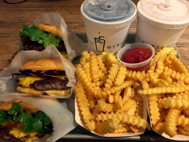 Burgers, fries and shakes at Shake Shack at the Mall of America on Nov. 2, 2016. (Pioneer Press: Nancy Ngo)