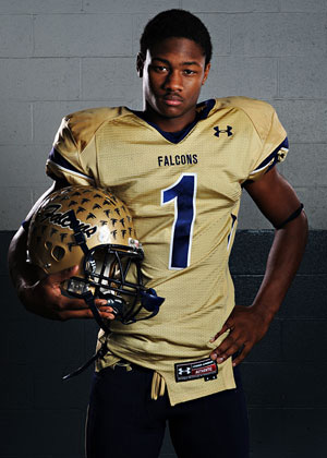 Stefon Diggs, now a wide receiver for the Vikings, pictured when he played for Our Lady of Good Counsel High School in Olney, Md., as a senior in 2011. (ctsy photo)