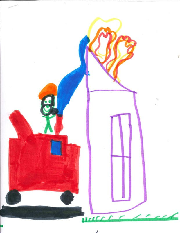 """""""I'm thankful for my dad because he is a firefighter. I'm thankful for firefighters because they keep us safe."""" — Bryce L., St. Paul Park, Pullman Elementary School"""