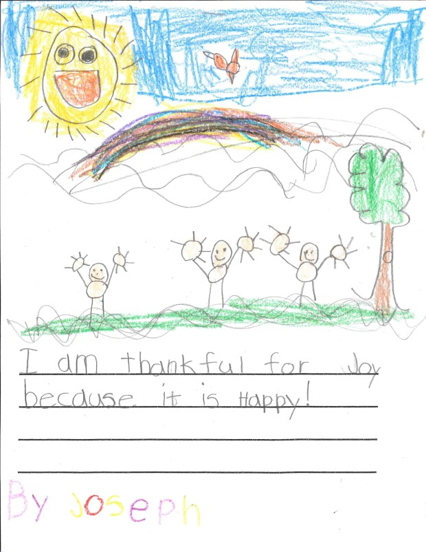 """""""I am thankful for joy because it is happy!"""" — Keller R., St. Paul, Maternity of St. Andrew"""