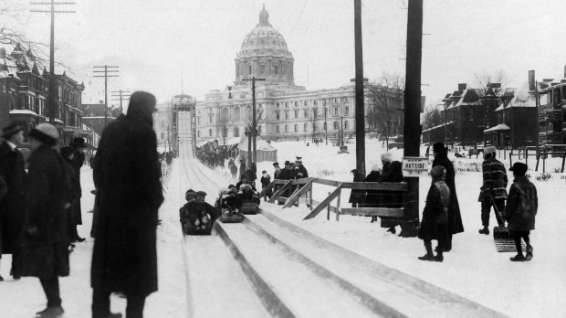 St. Paul Winter Carnival festivities included a giant toboggan slide near the Capitol. (Photo courtesy TPT)