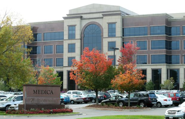 In this Thursday, Sept. 25, 2014 photo, the headquarters of Medica is pictured in Minnetonka, Minn. After PreferredOne abruptly pulled out of MNsure, Minnesota's health insurance exchange, it left the field to Blue Cross and Blue Shield of Minnesota, HealthPartners, Medica and UCare as choices for individuals buying health policies on the exchange. (AP Photo/Jim Mone)