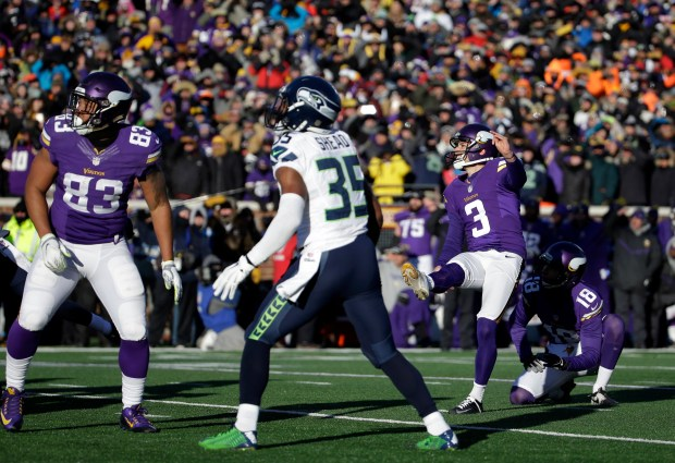 Vikings kicker Blair Walsh (3) watches as he misses a field goal during the second half of an NFL wild-card football game against the Seattle Seahawks, Sunday, Jan. 10, 2016, in Minneapolis. The Seahawks won 10-9. (AP Photo/Nam Y. Huh)