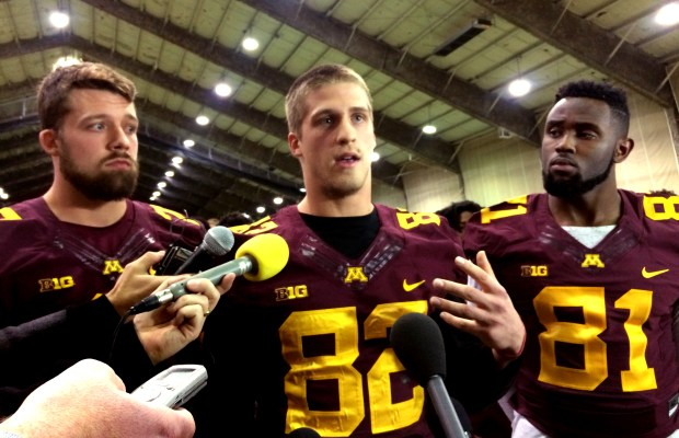 Minnesota Gophers football players, from left, Mitch Leidner, Drew Wolitarsky and Duke Anyanwu tell media they will boycott team activities over the suspension of 10 players on Thursday night, Dec. 15, 2016 at the Gibson-Nagurski Football Complex at the University of Minnesota in Minneapolis. (Pioneer Press: Andy Greder)