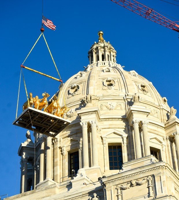 The Quadrigra sculpture takes its place in front of the Capitol dome in St. Paul on Saturday, Nov. 12, 2016. (Special to the Pioneer Press: Craig Lassig)