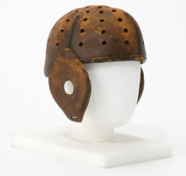 Helmet worn by Knute Rockne while playing for the Massillon Tigers in 1919. A native of Norway, Rockne played professional football for Massillon and the Akron Indians in the Ohio League before going on to a legendary coaching career at the University of Notre Dame. (Courtesy Pro Football Hall of Fame)