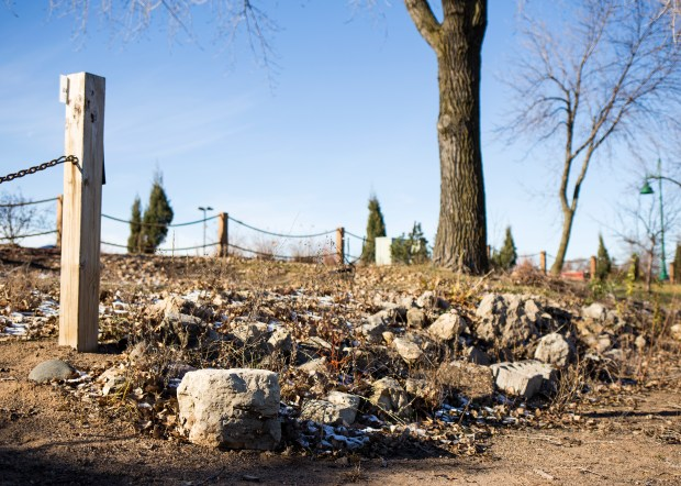 Visible signs of low water levels could be seen in 2016 around White Bear Lake's entire shoreline perimeter, including these rocks that once met the lake but now sit dry, many feet away from the water's edge. (Pioneer Press: Liam James Doyle)